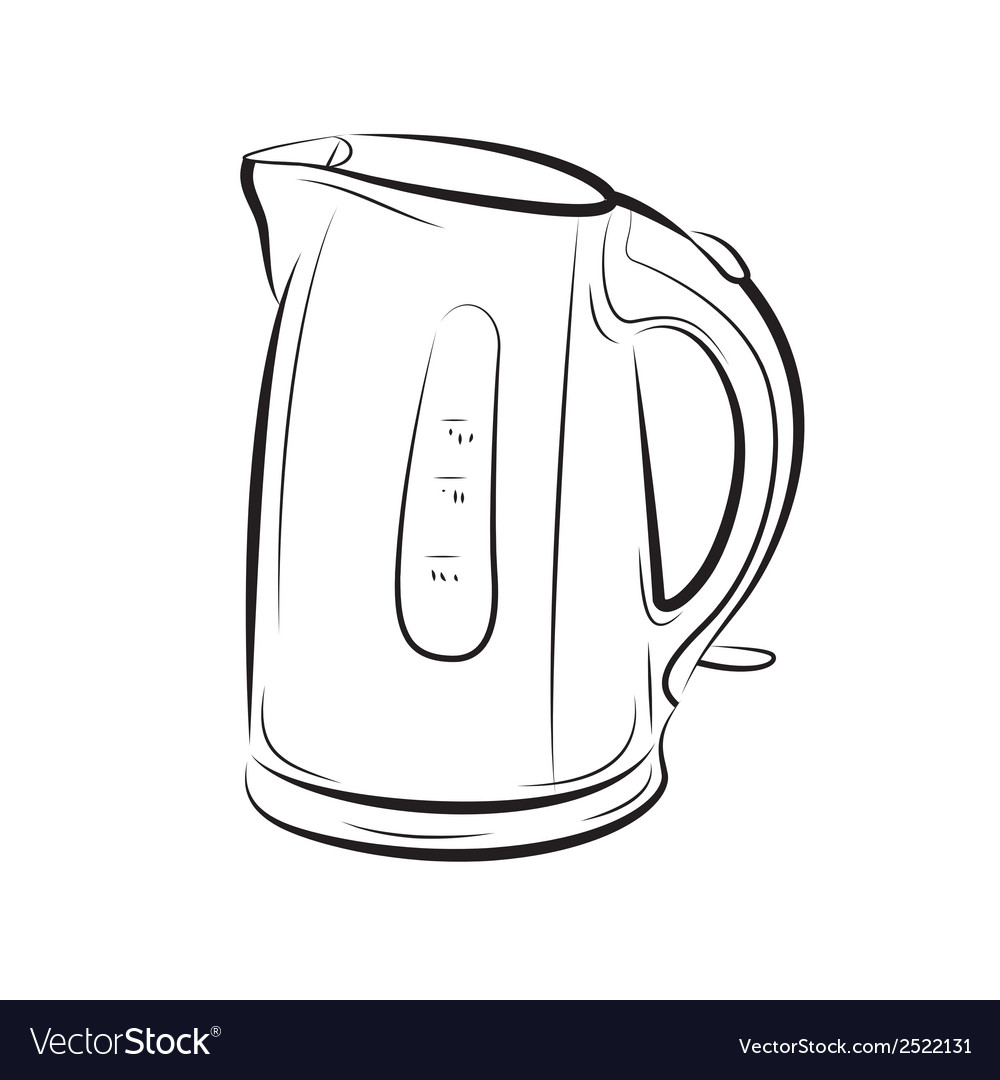 Object kettle bw vector | Price: 1 Credit (USD $1)