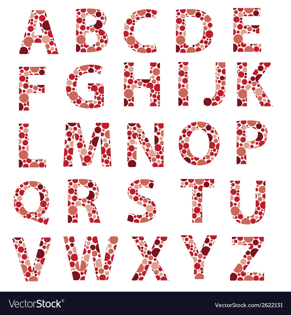 Red dotted alphabet letters eps10 vector | Price: 1 Credit (USD $1)