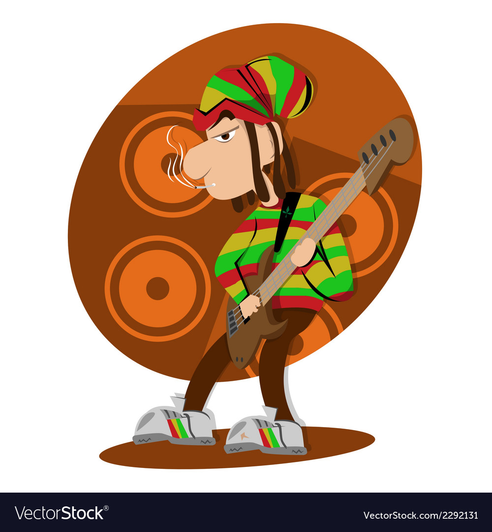 Reggae dread lock bass player vector | Price: 1 Credit (USD $1)