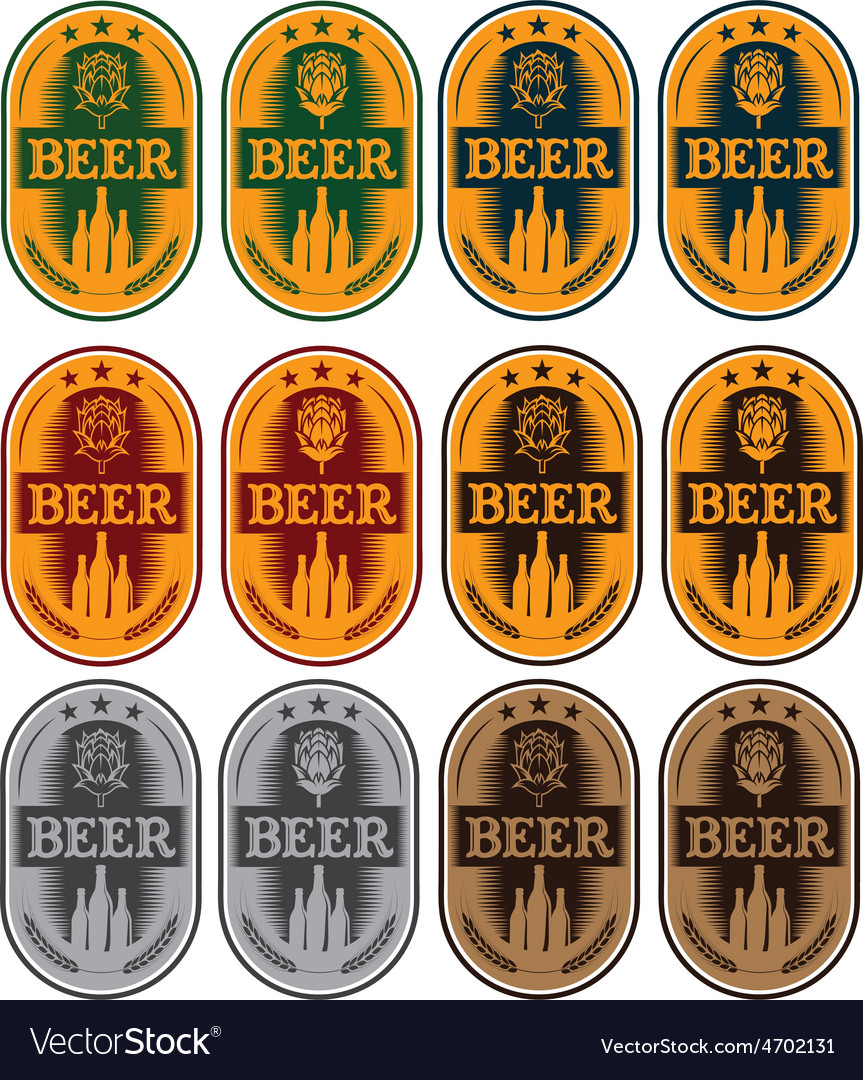 Set of labels for beer in a retro style vector | Price: 1 Credit (USD $1)