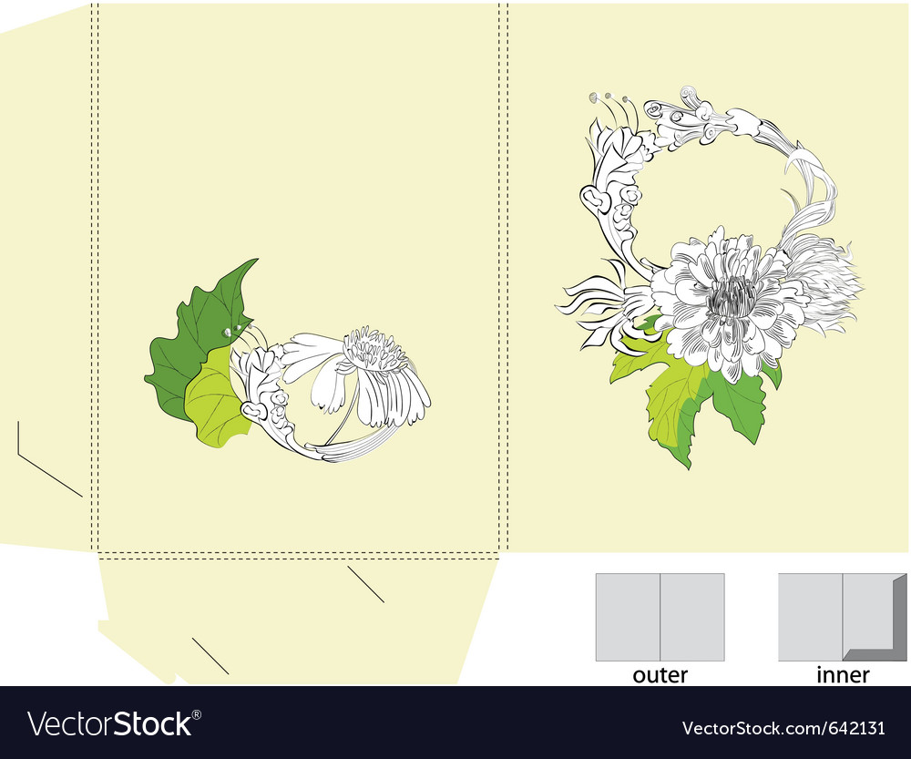 Template for folder with flowers vector | Price: 3 Credit (USD $3)