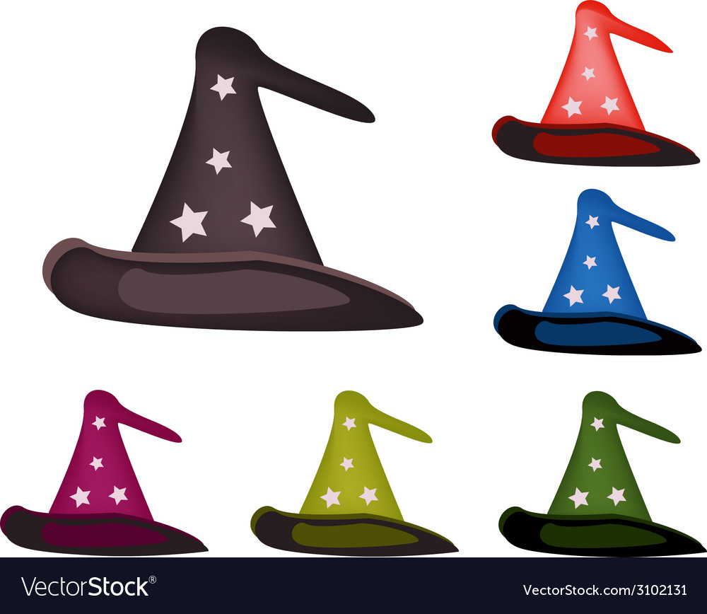 Various colors of lovely witch hat vector | Price: 1 Credit (USD $1)
