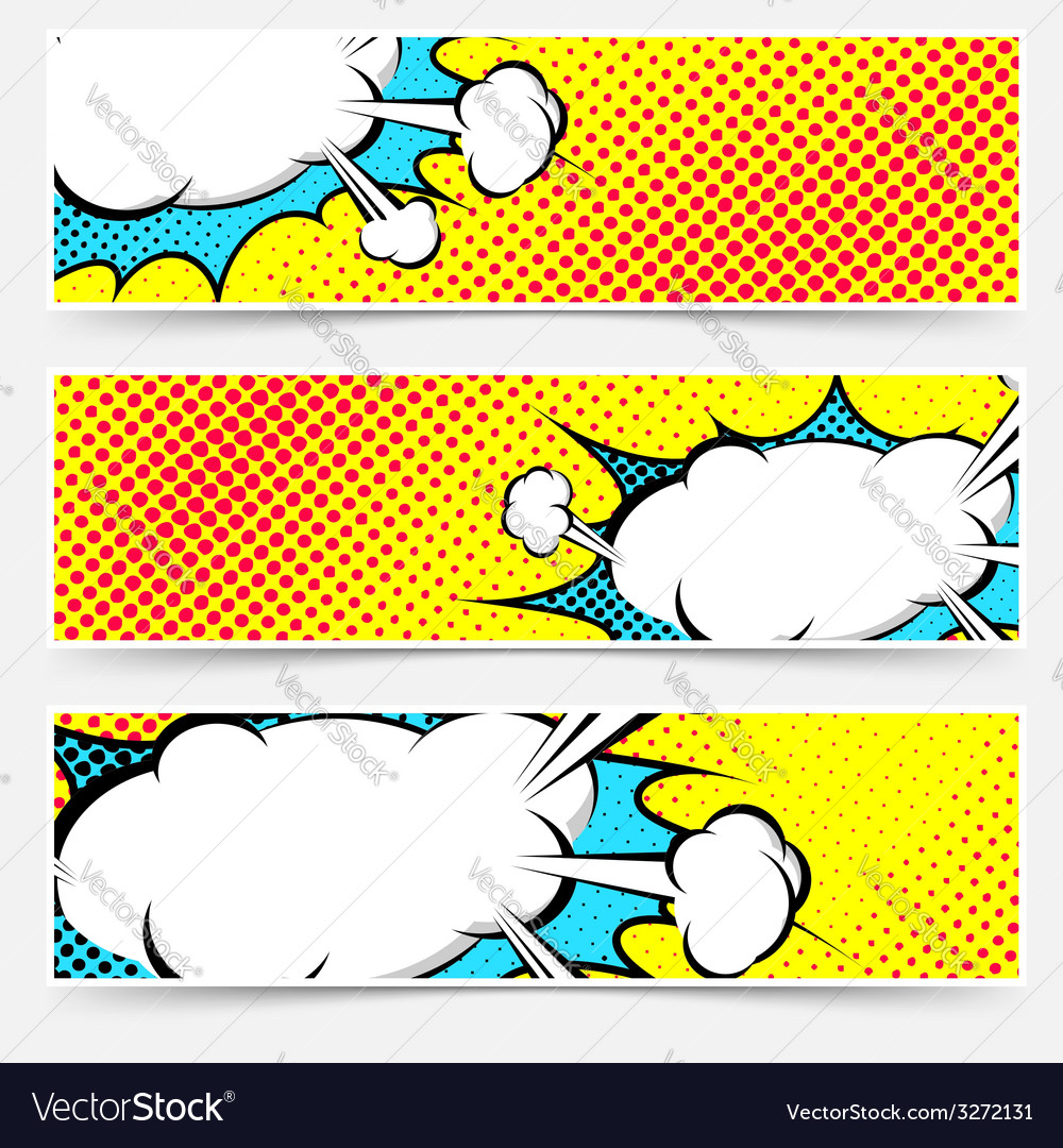 Yellow background pop-art explosion bubble set vector | Price: 1 Credit (USD $1)