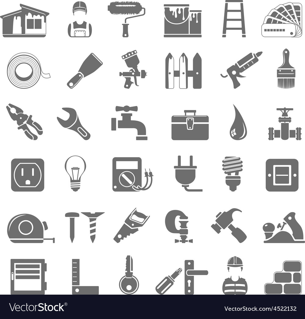 Black icons home repair vector
