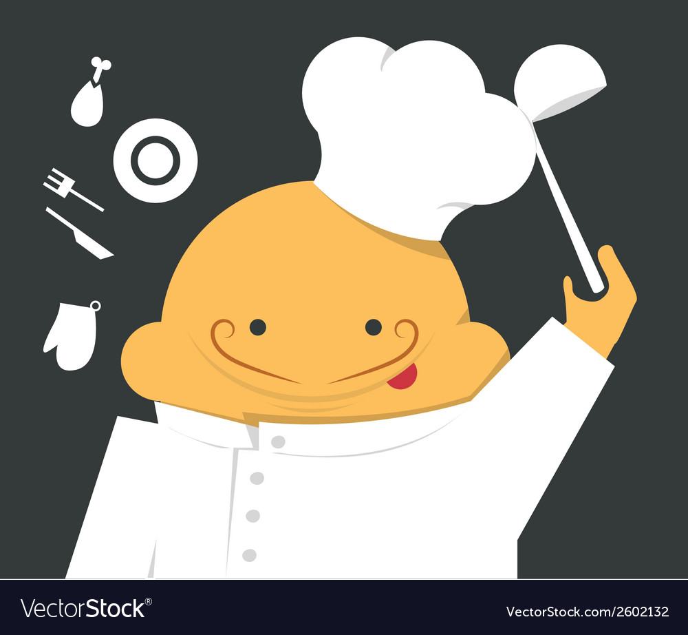 Cook in a white robe with hat and scoop vector | Price: 1 Credit (USD $1)