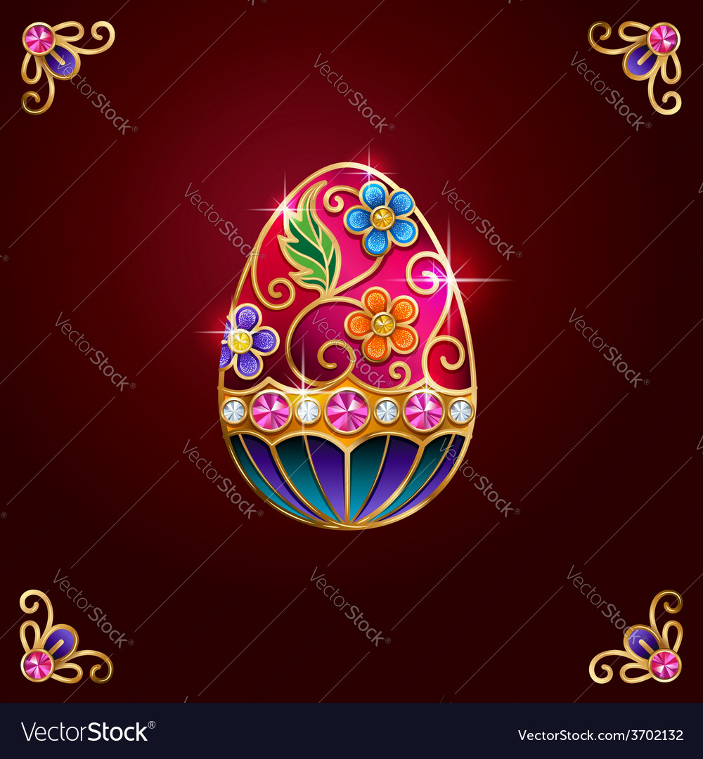 Easter egg red corners vector | Price: 1 Credit (USD $1)