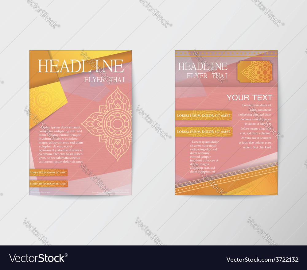 Flyer thai design template brochure in a4 size vector | Price: 1 Credit (USD $1)