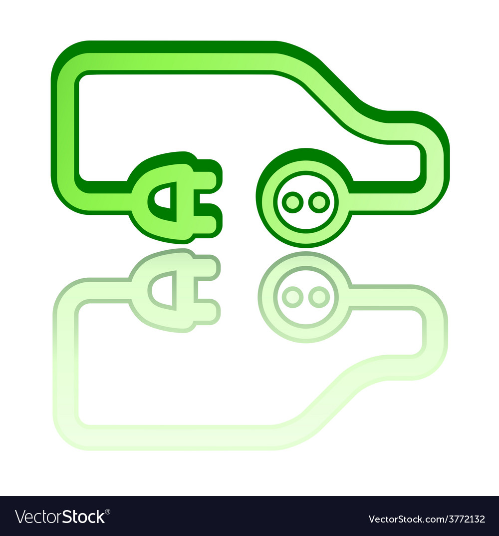 Green electrical vehicle car vector | Price: 1 Credit (USD $1)