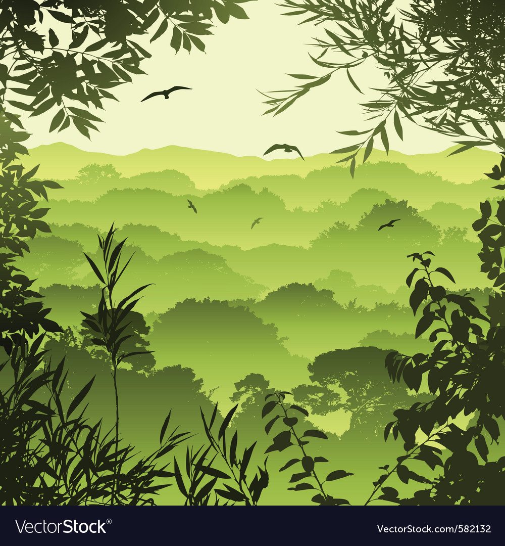 Green forest landscape vector | Price: 1 Credit (USD $1)
