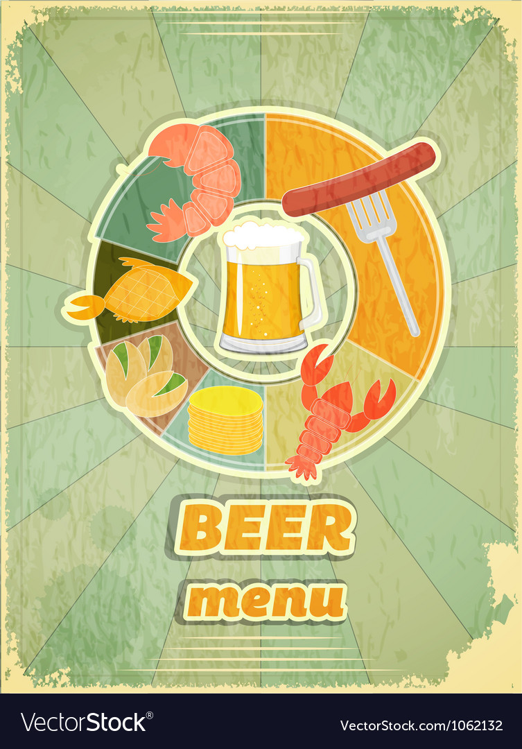 Grunge design beer menu vector | Price: 1 Credit (USD $1)