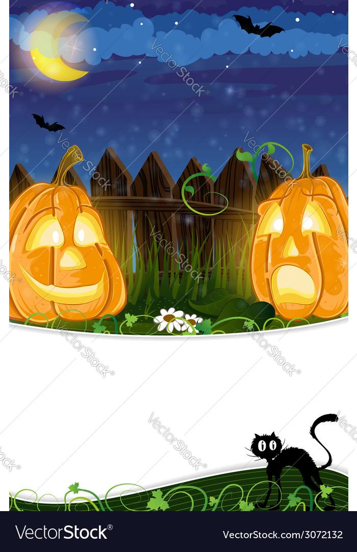 Jack o lanterns and black cat vector | Price: 3 Credit (USD $3)