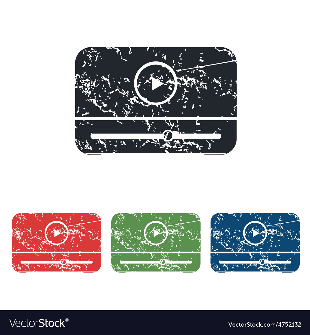 Mediaplayer grunge icon set vector | Price: 1 Credit (USD $1)