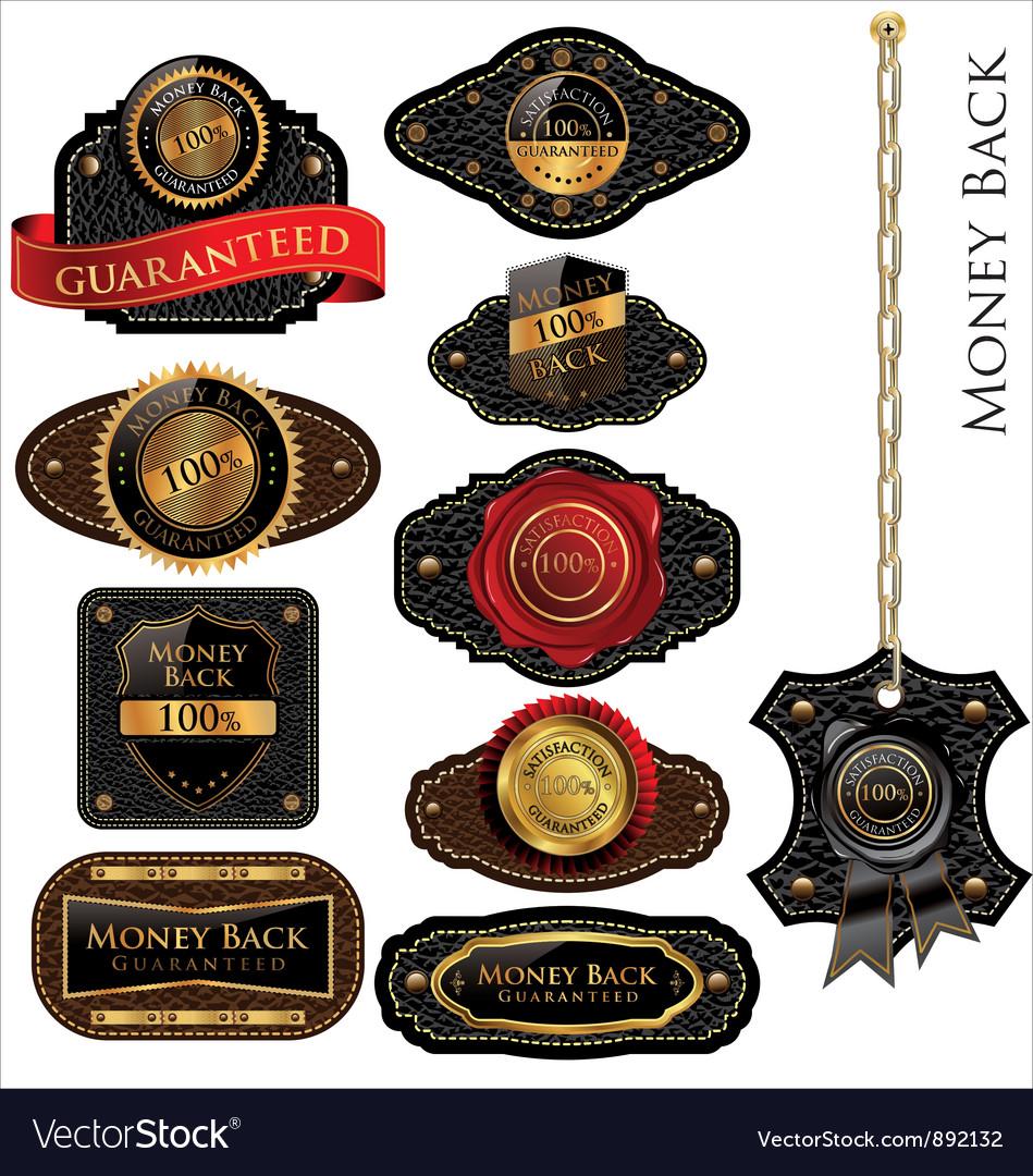 Money back leather vintage labels set vector   Price: 1 Credit (USD $1)
