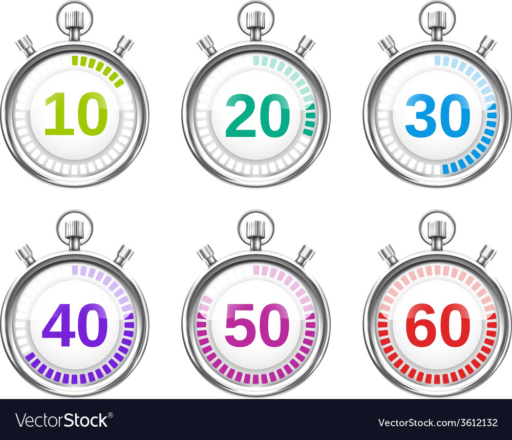 Six colorful stopwatches with varying times vector | Price: 1 Credit (USD $1)