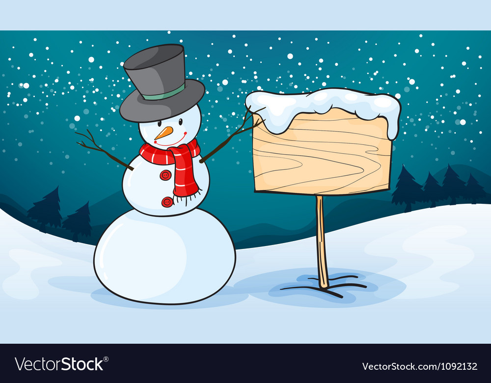 Snowman in snow land vector | Price: 1 Credit (USD $1)