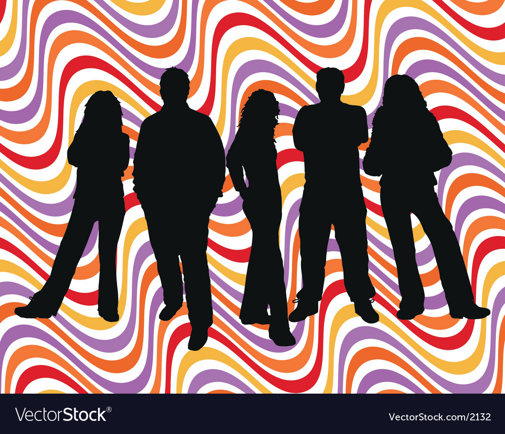 Young people retro background vector | Price: 3 Credit (USD $3)