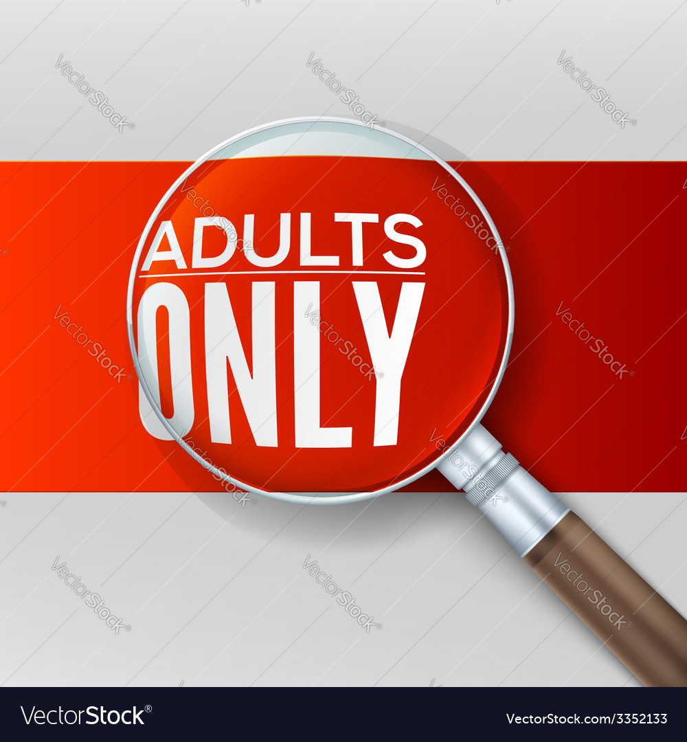 Adults only red banner with a magnifying glass vector | Price: 1 Credit (USD $1)