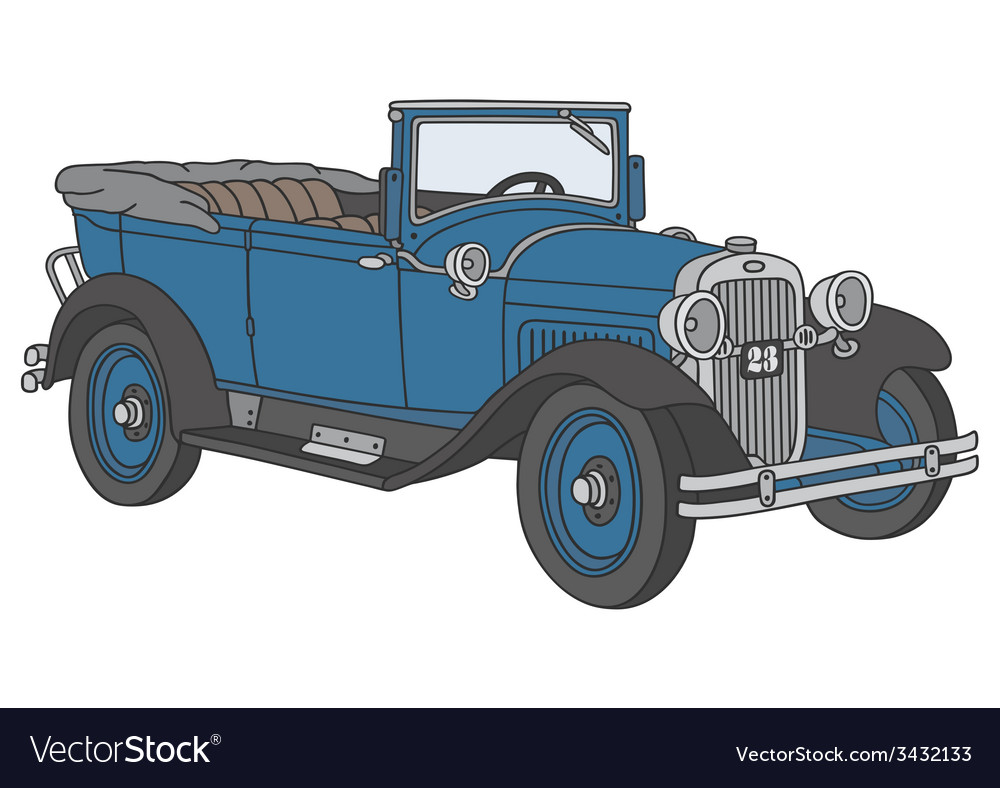 Blue vintage cabriolet vector | Price: 1 Credit (USD $1)