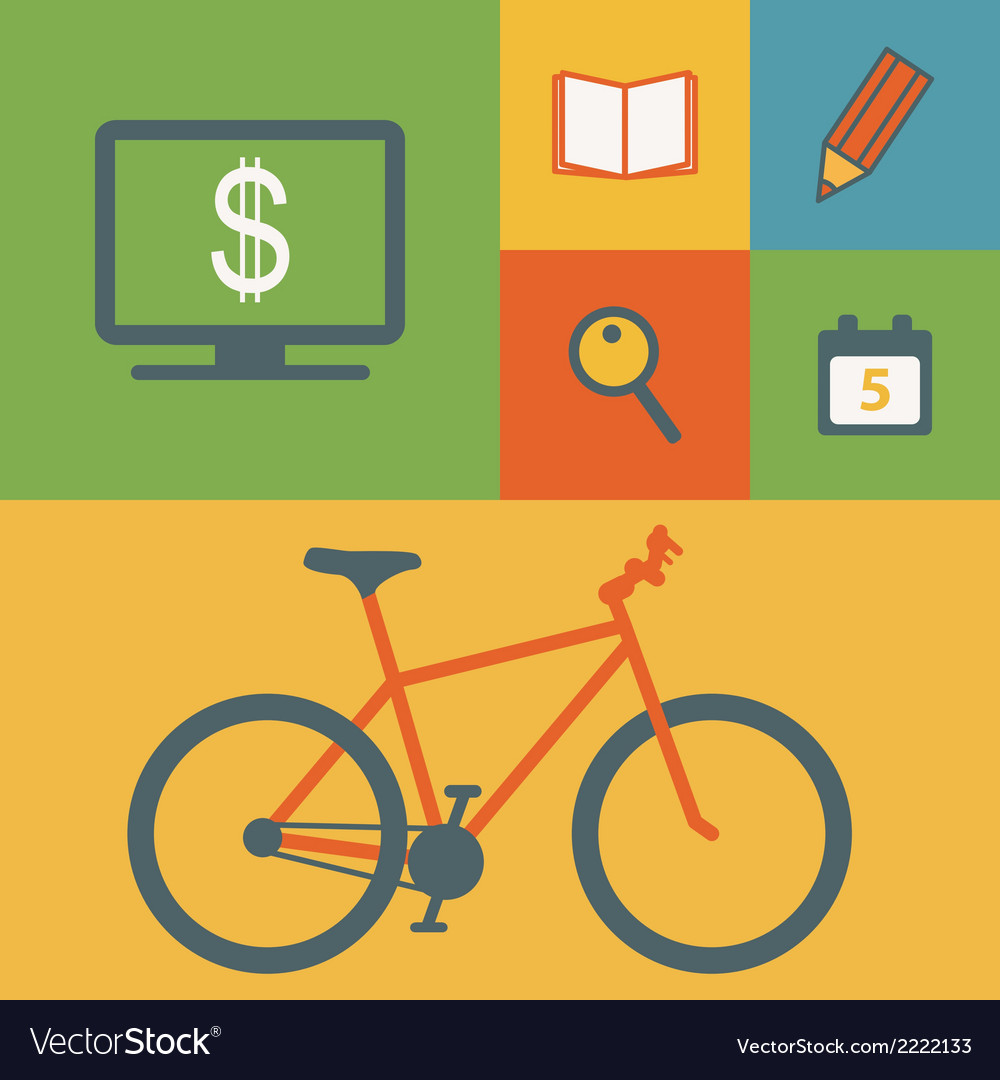 Business icons and bicycle vector | Price: 1 Credit (USD $1)