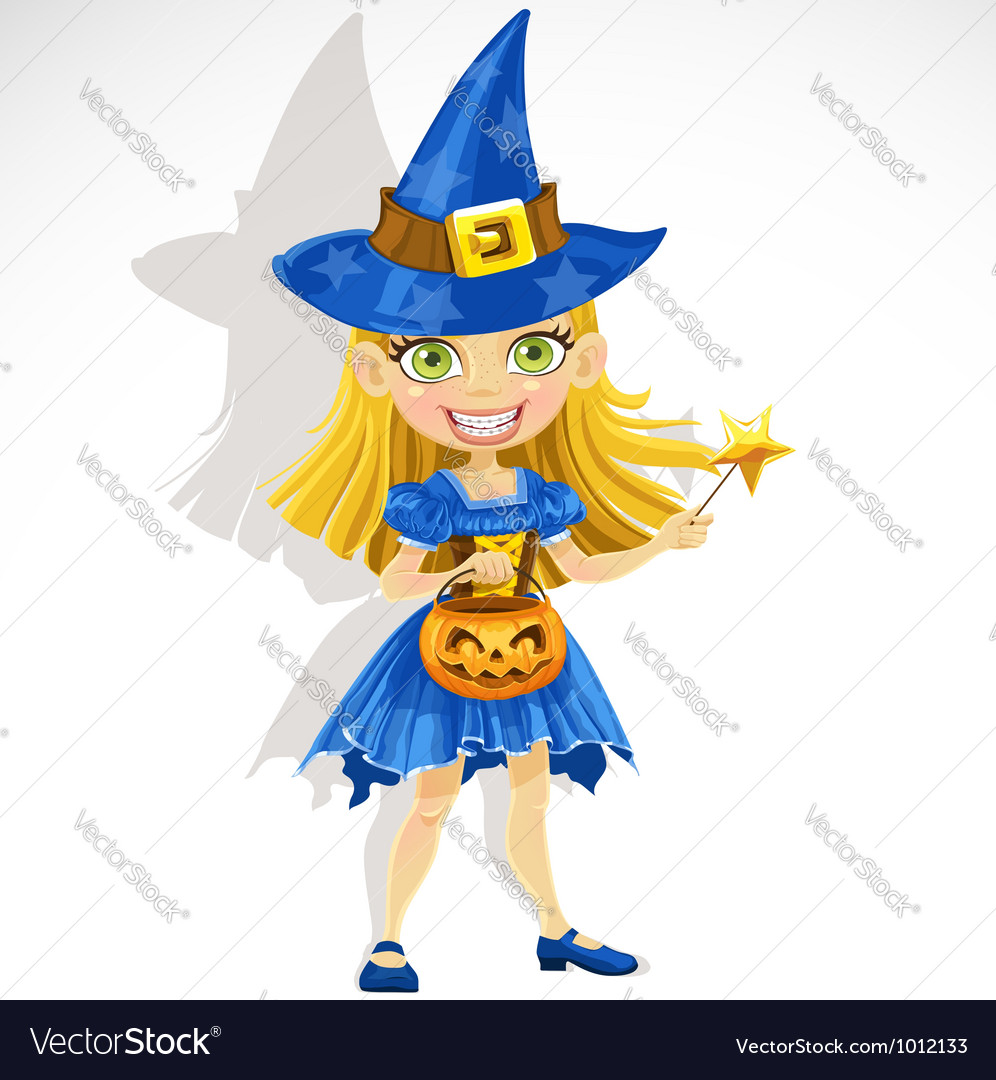 Cute little girl dressed as a witch trick or treat vector | Price: 3 Credit (USD $3)