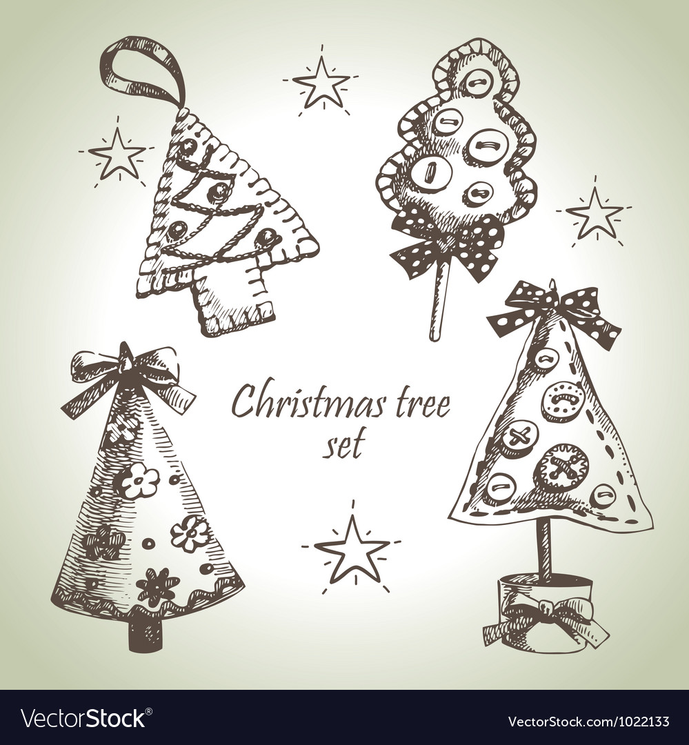 Hand drawn christmas tree design set vector | Price: 1 Credit (USD $1)