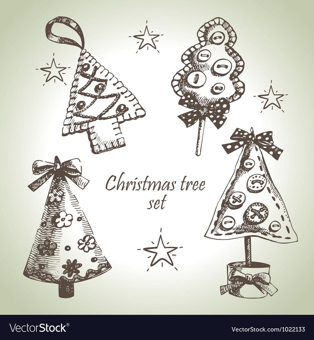 Hand drawn christmas tree design set vector | Price: 1 Credit (USD $1)