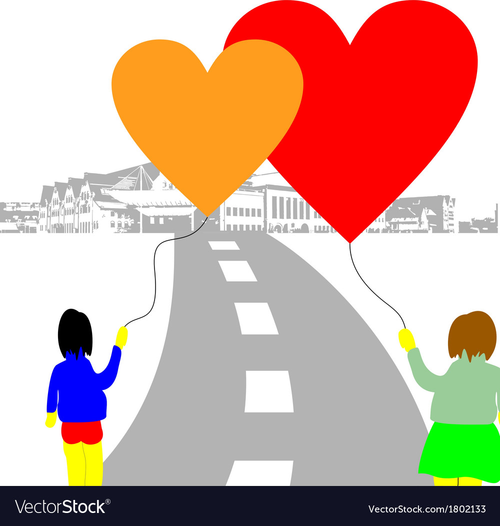 Love baloon hearts on the street vector | Price: 1 Credit (USD $1)