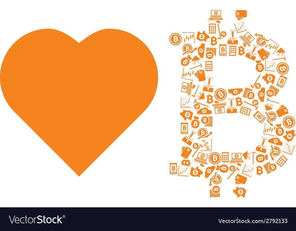 Love bitcoin symbol vector | Price: 1 Credit (USD $1)
