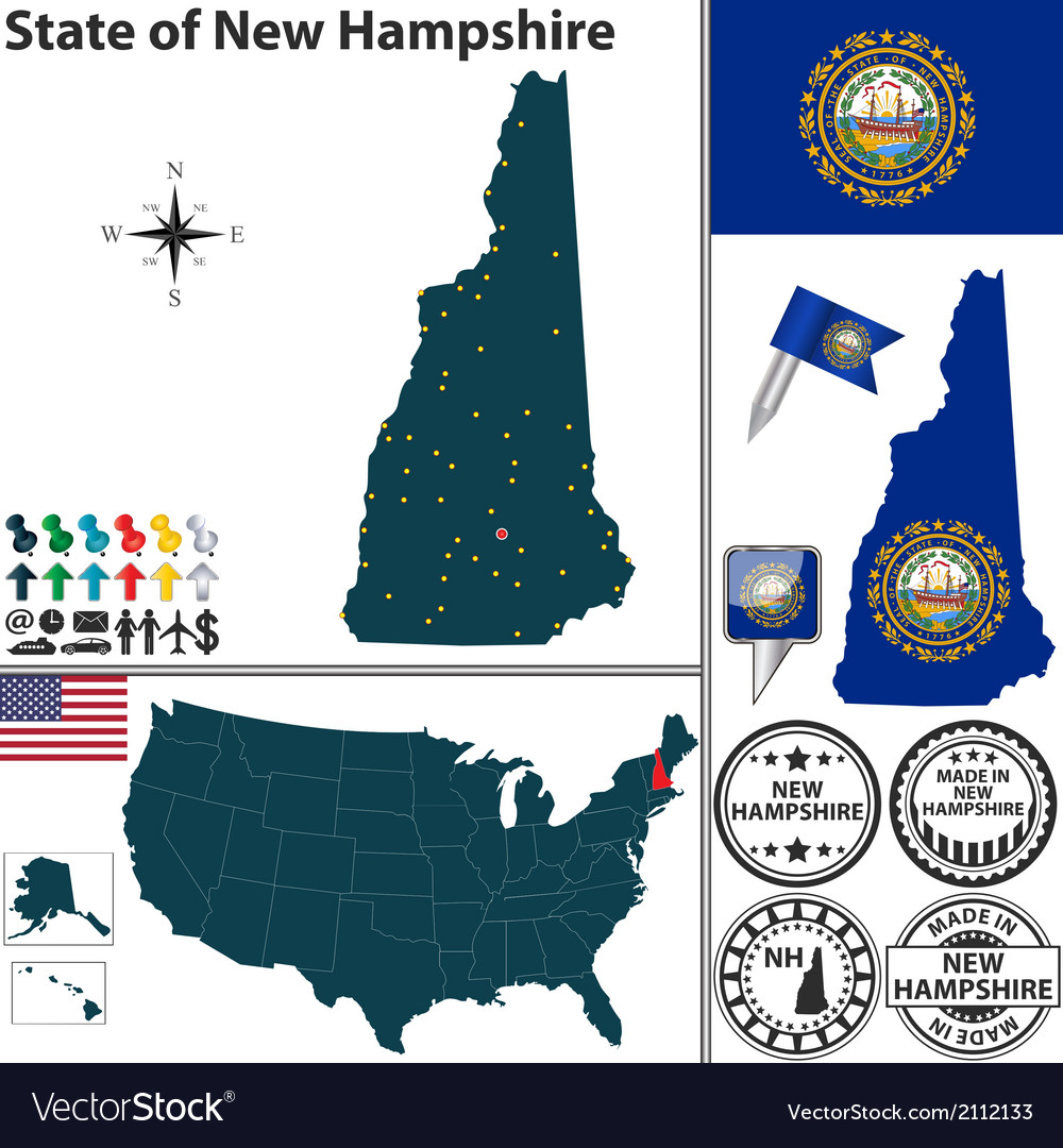 Map of new hampshire vector | Price: 1 Credit (USD $1)