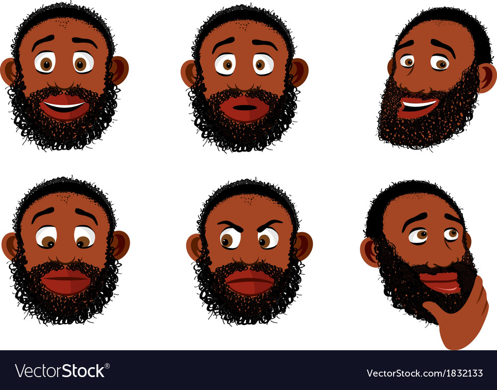 Old black bearded man vector | Price: 1 Credit (USD $1)