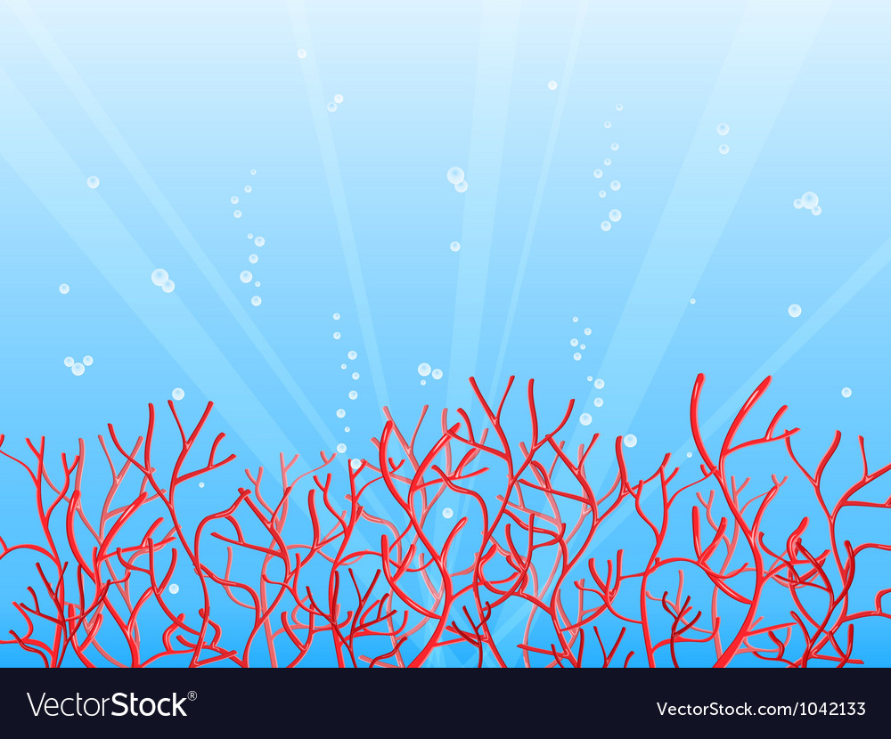 Red coral in blue ocean vector | Price: 1 Credit (USD $1)