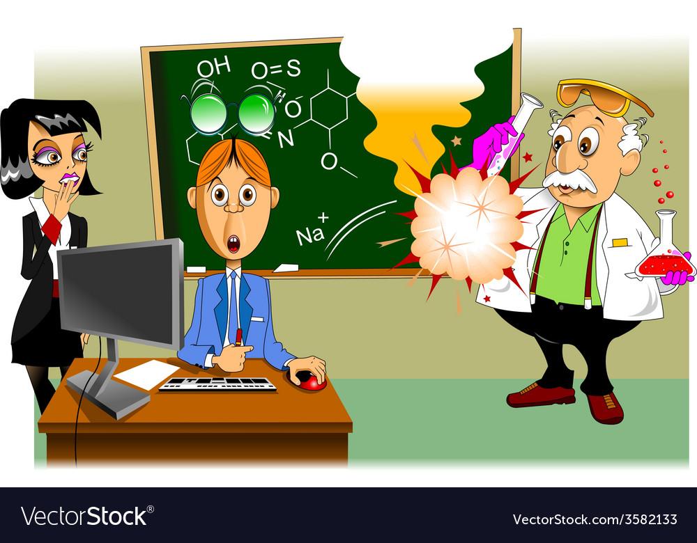 Scientific experiment cartoon vector | Price: 1 Credit (USD $1)