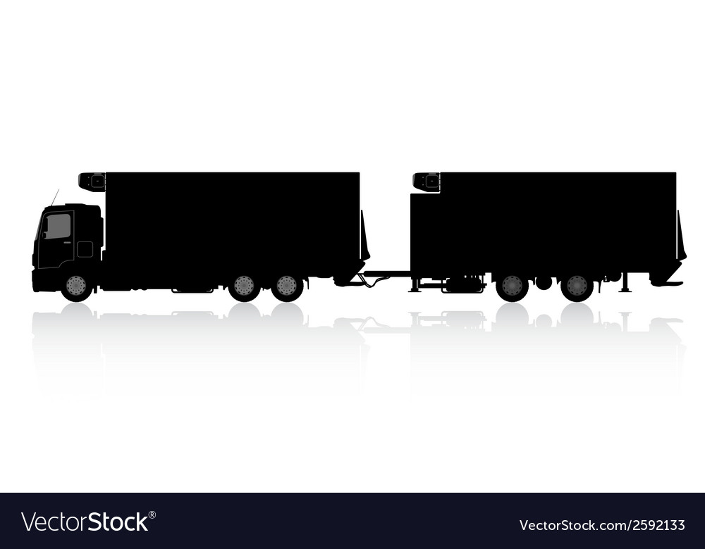 Silhouette of a truck with a trailer vector | Price: 1 Credit (USD $1)
