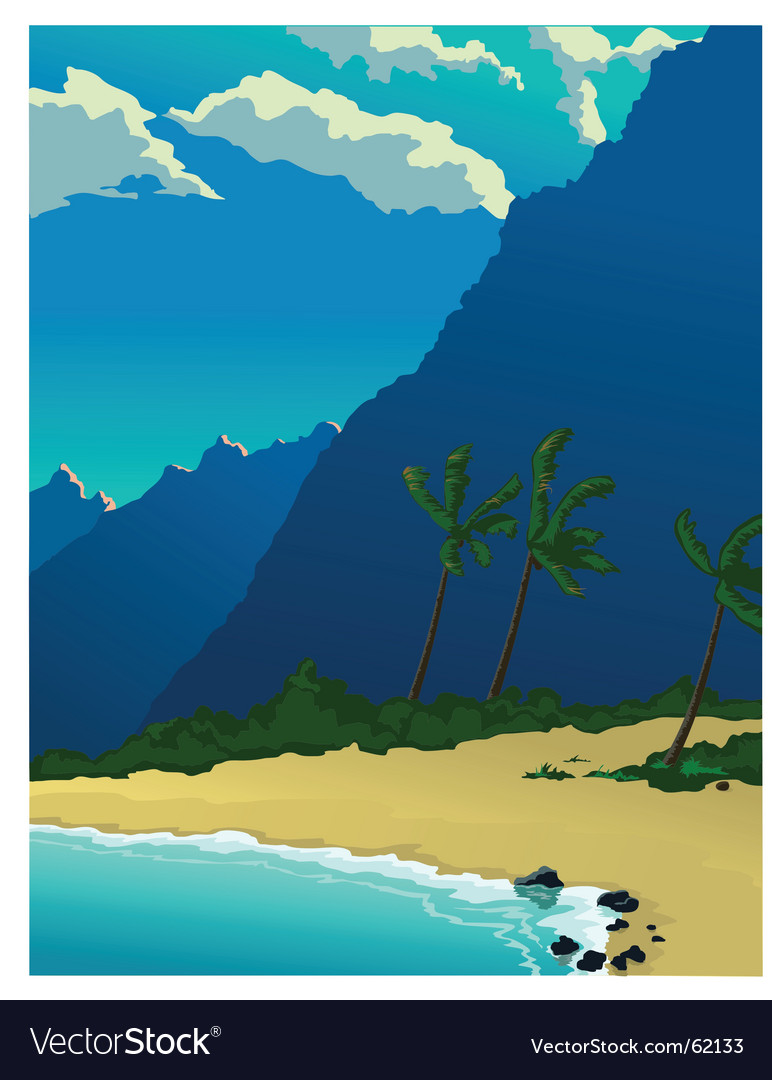 Tropical mountains vector | Price: 1 Credit (USD $1)