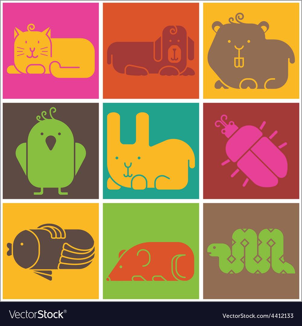 Zoo animals icons vector | Price: 1 Credit (USD $1)