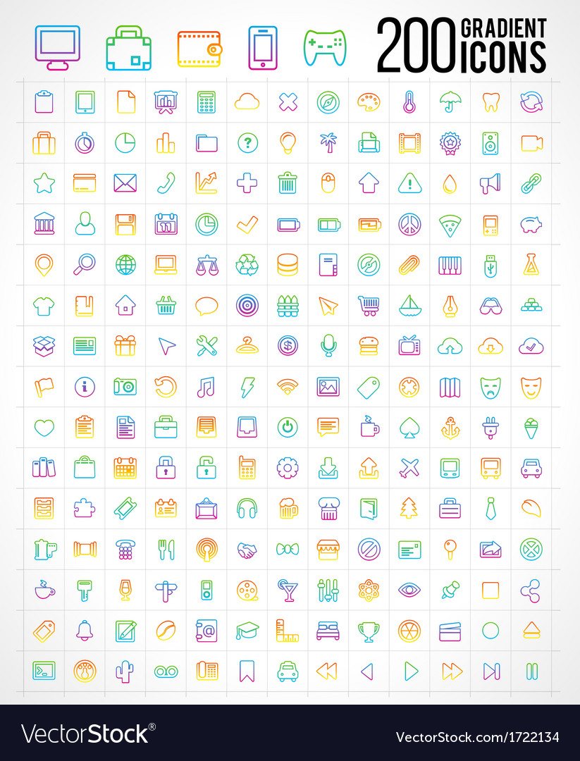 200 trendy thin gradient icons vector | Price: 1 Credit (USD $1)