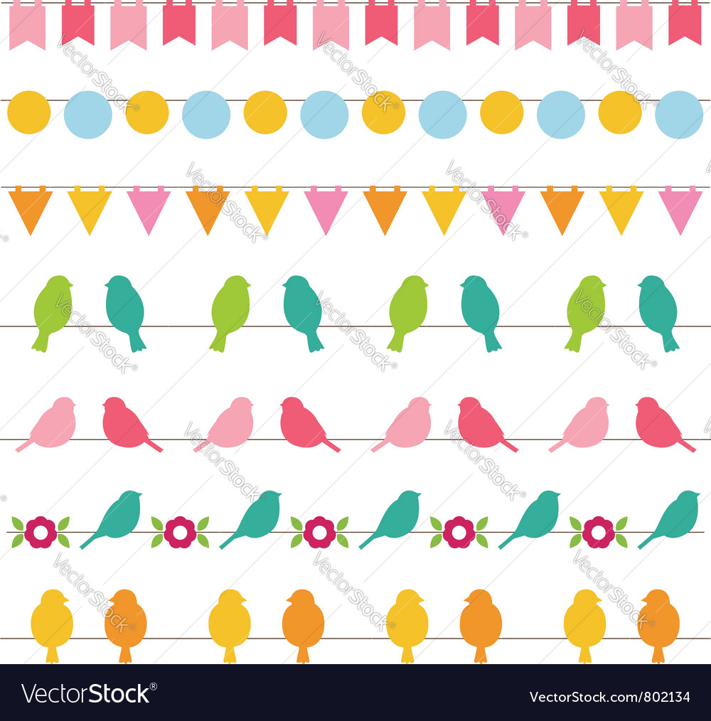 Bunting and birds borders set vector   Price: 1 Credit (USD $1)