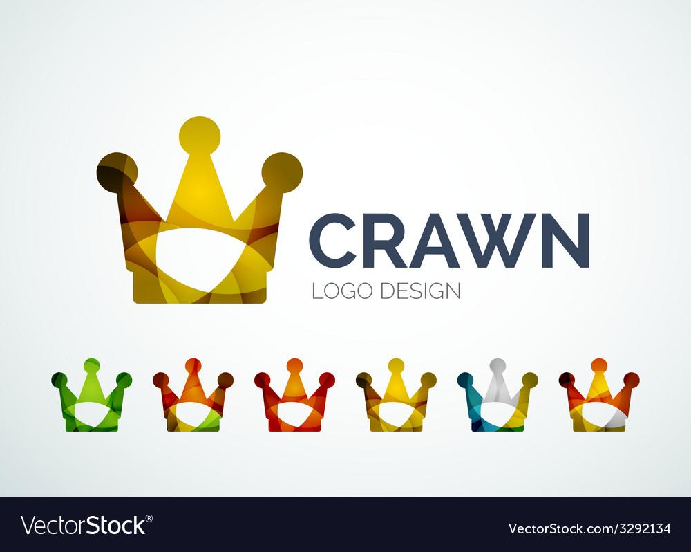 Crown logo design made of color pieces vector | Price: 1 Credit (USD $1)