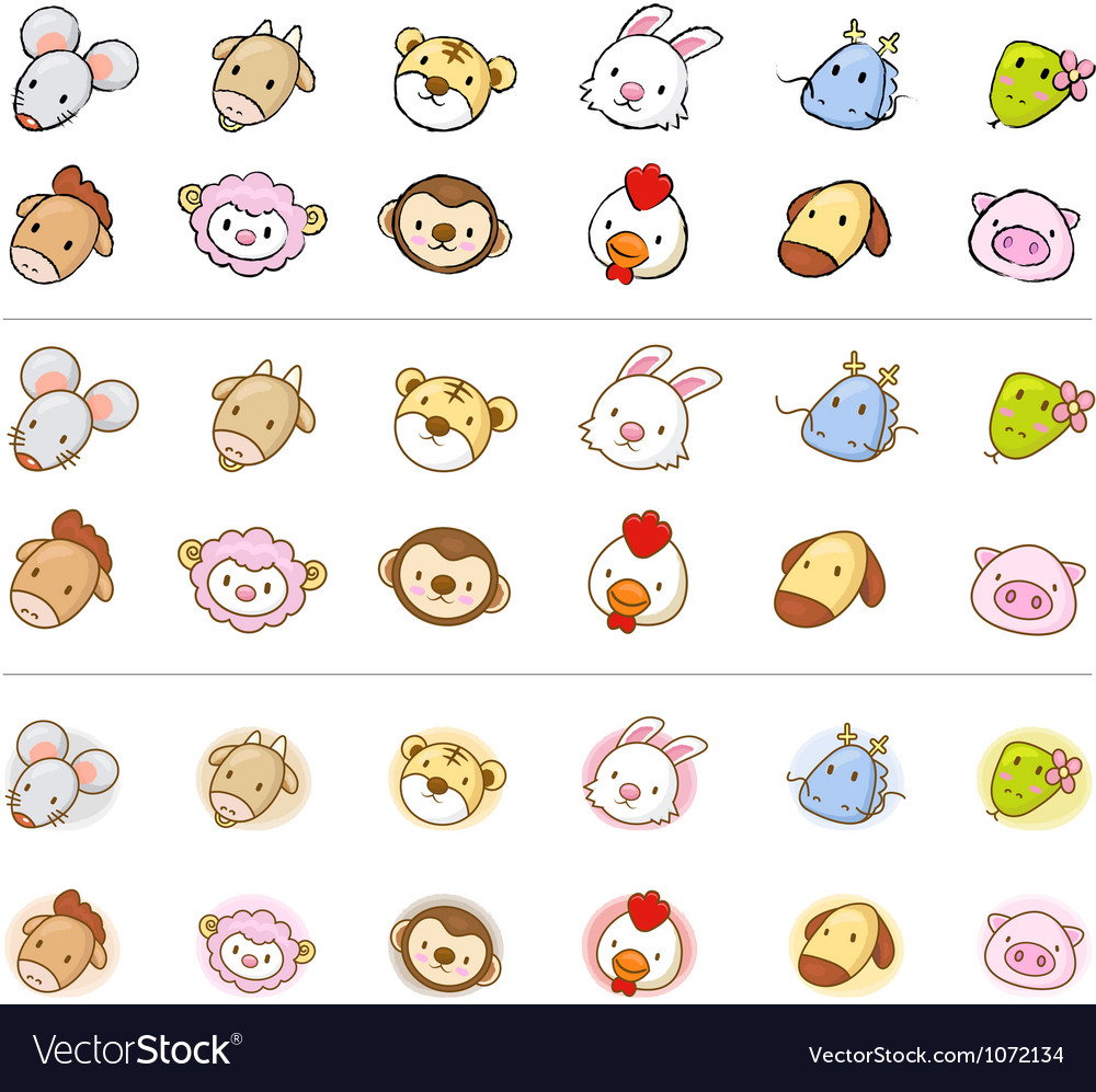 The east 12 zodiac animal mascot head icon vector | Price: 3 Credit (USD $3)