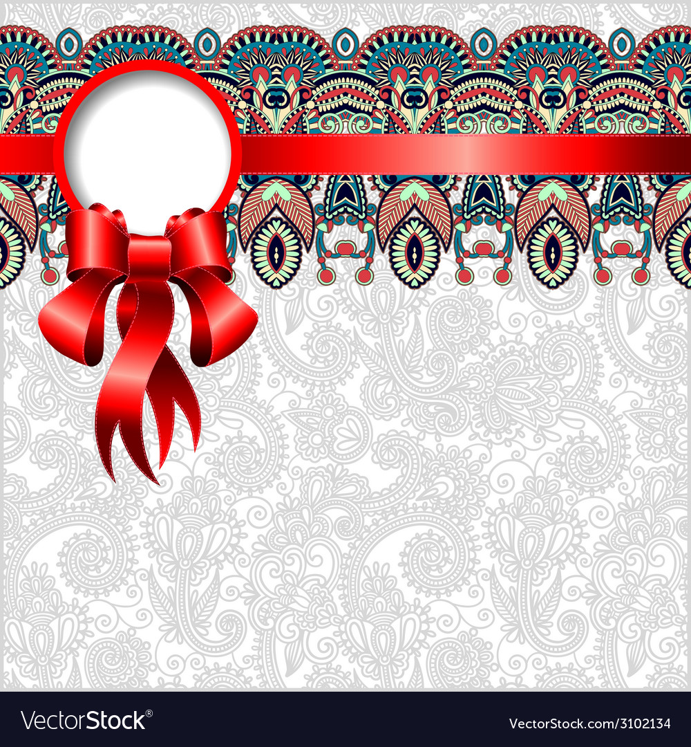 Ethnic ornamental pattern with silk ribbon and vector   Price: 1 Credit (USD $1)