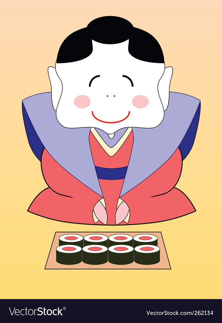 Geisha with sushi vector | Price: 1 Credit (USD $1)