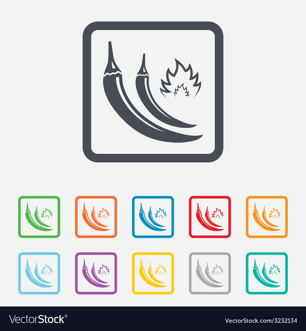 Hot chili peppers sign icon spicy food symbol vector | Price: 1 Credit (USD $1)