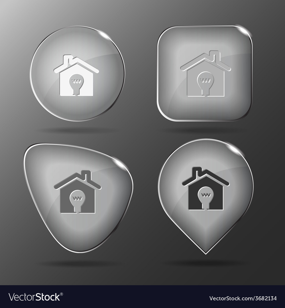 Light in home glass buttons vector | Price: 1 Credit (USD $1)
