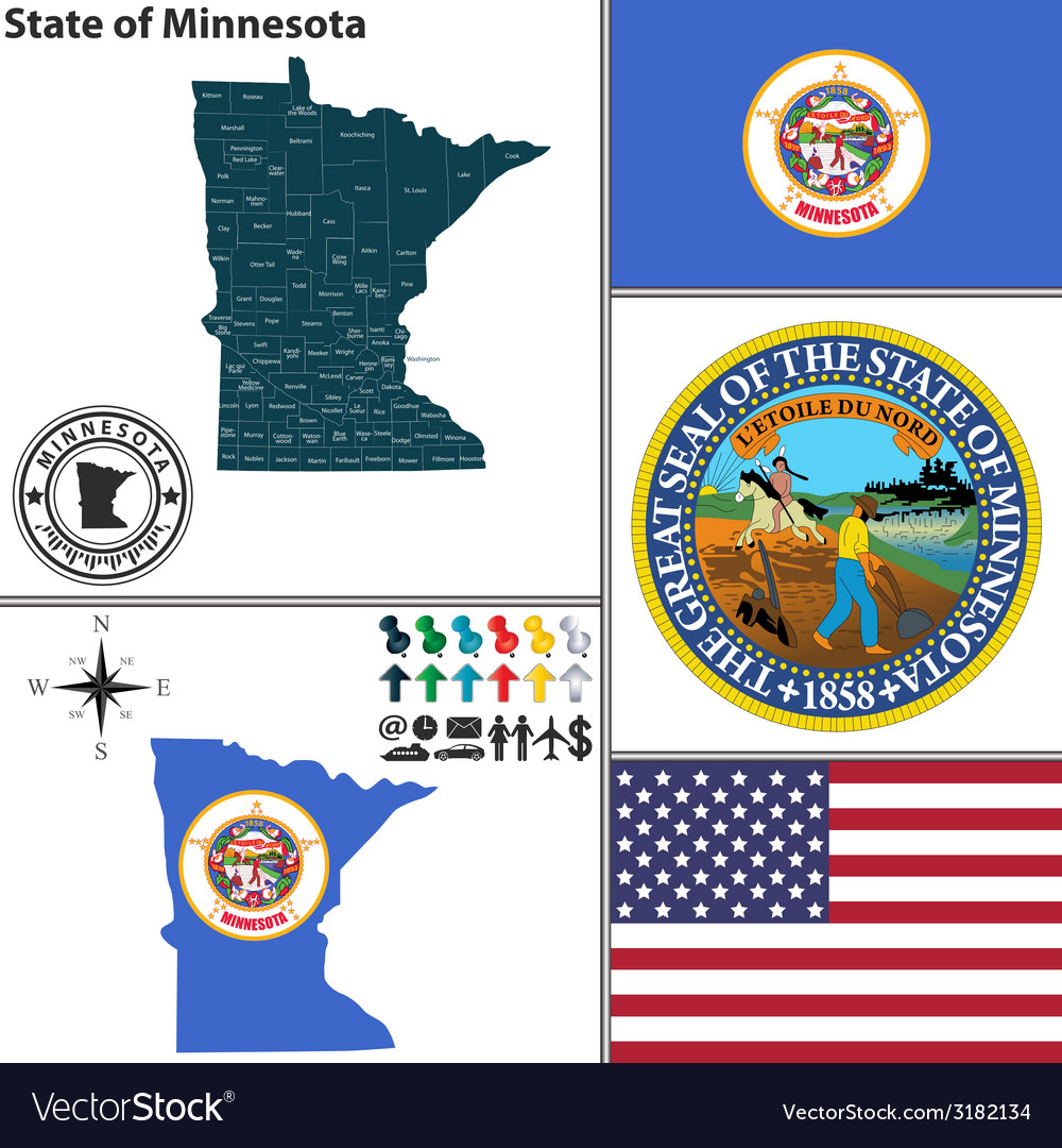 Map of minnesota with seal vector | Price: 1 Credit (USD $1)