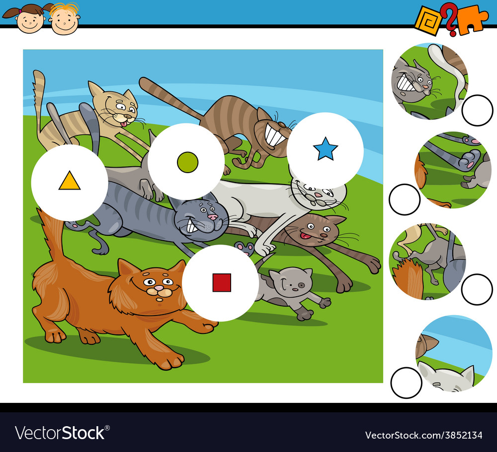 Match pieces game cartoon vector | Price: 3 Credit (USD $3)