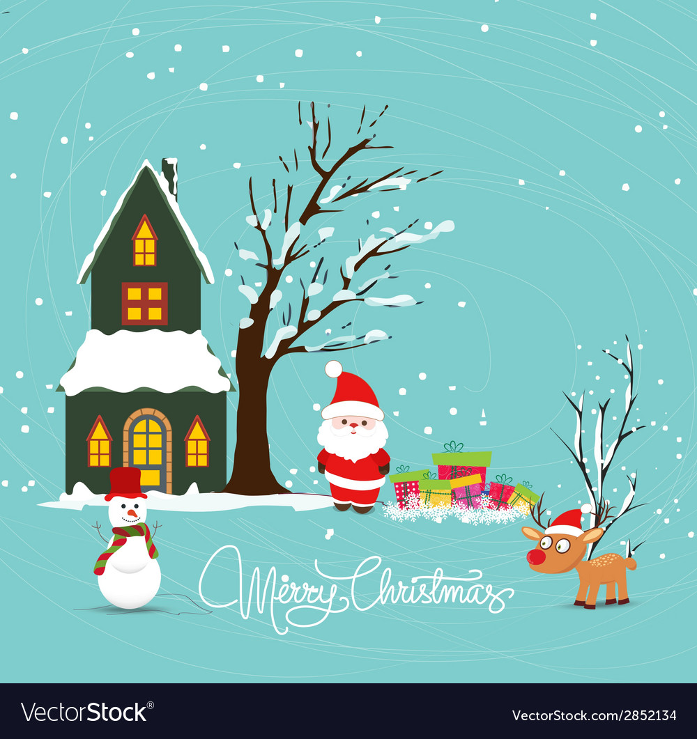 Merry christmas with santa claus snowman deer and vector | Price: 1 Credit (USD $1)