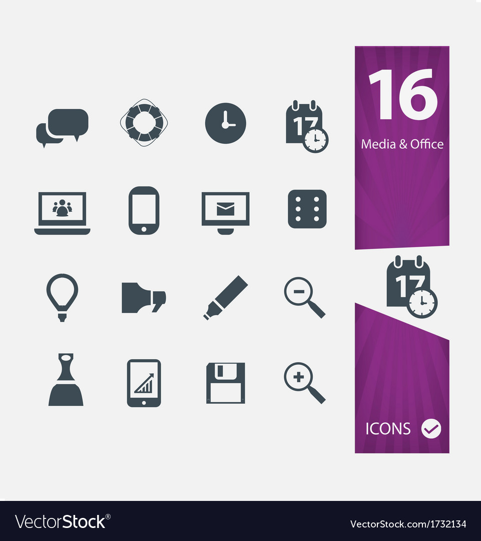 Office media icons vector | Price: 1 Credit (USD $1)