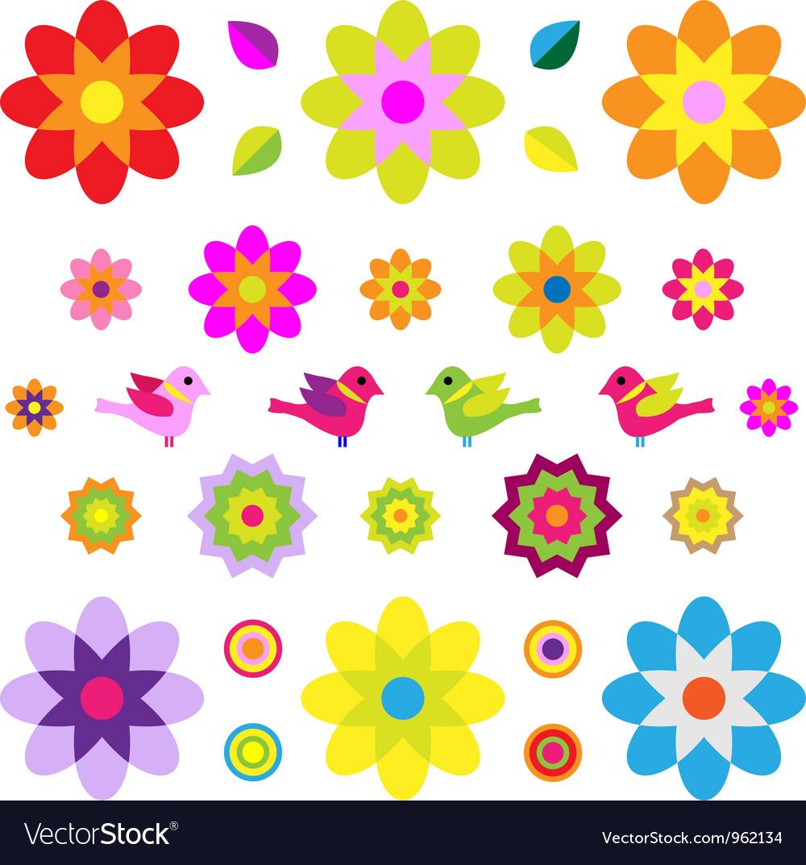 Retro flowers vector | Price: 1 Credit (USD $1)