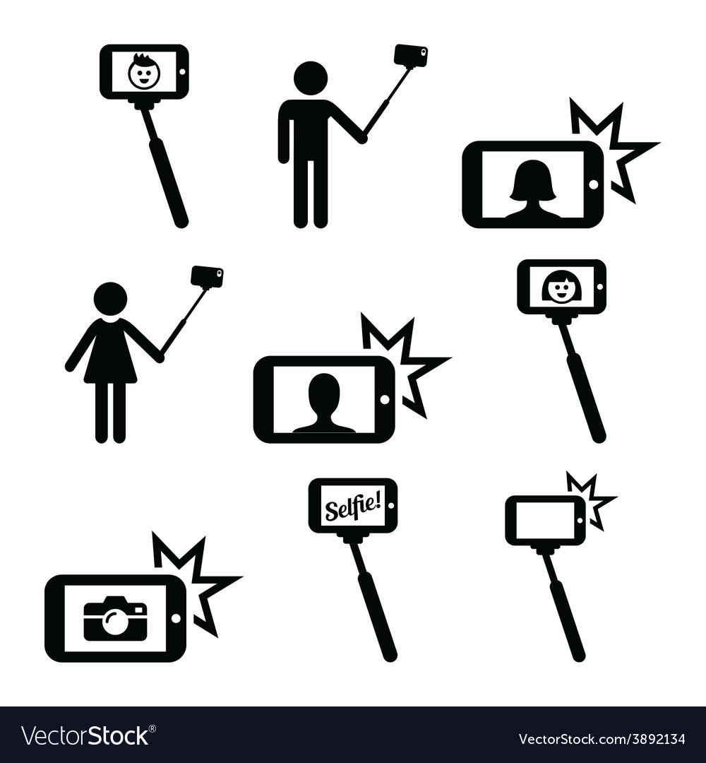 Selfie stick with mobile or cell phone icons set vector | Price: 1 Credit (USD $1)