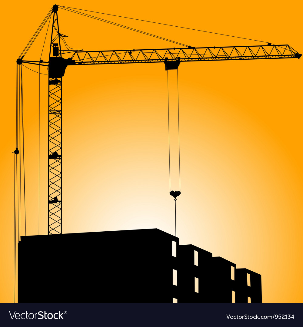 Silhouette of crane on a sunset on a building vector | Price: 1 Credit (USD $1)